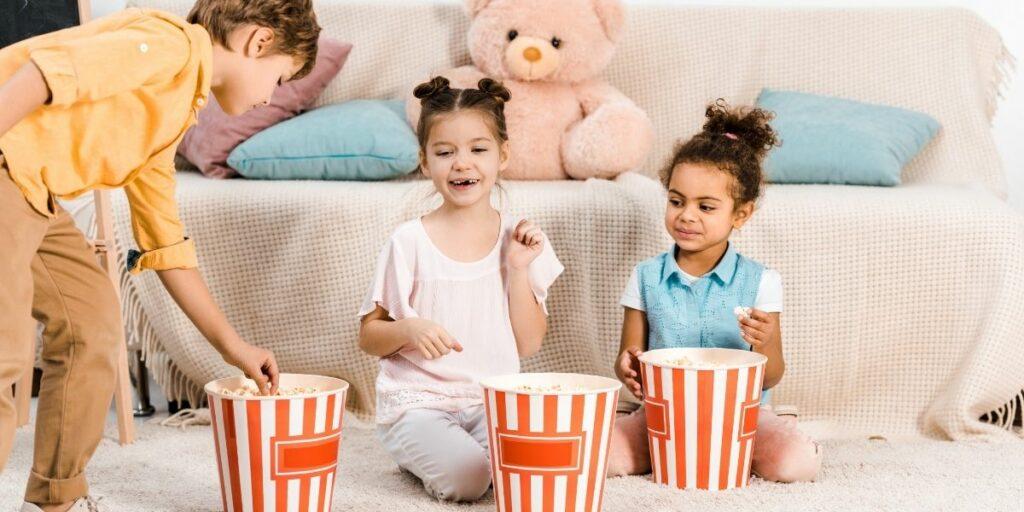 kids making popcorn