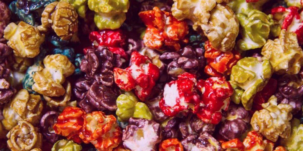 different colored popcorn